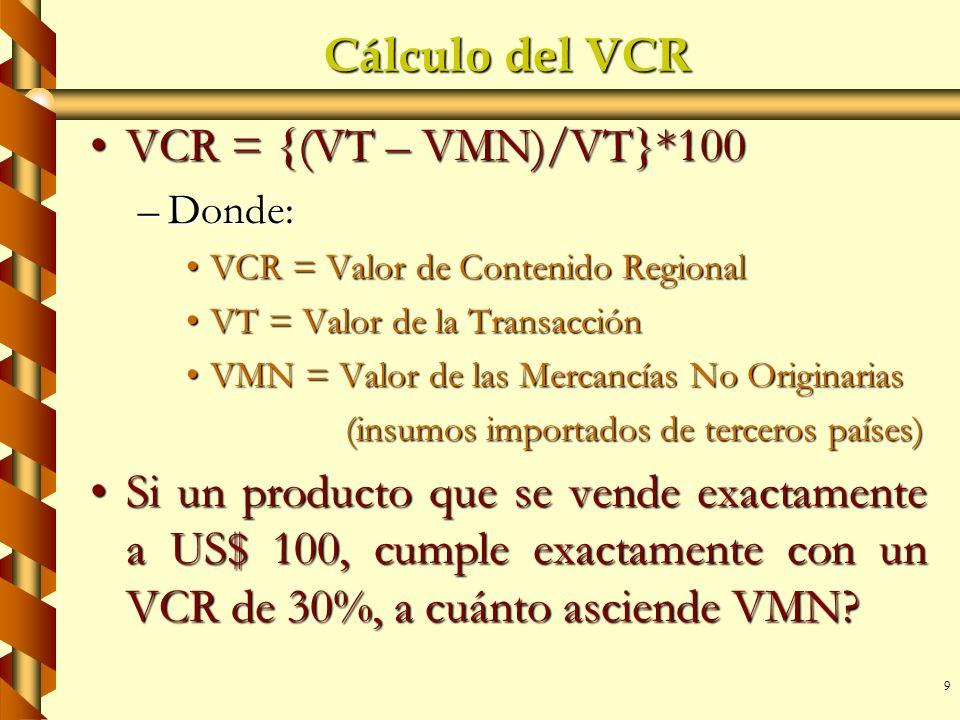 9 Cálculo del VCR VCR = {(VT – VMN)/VT}*100VCR = {(VT – VMN)/VT}*100 –Donde: VCR = Valor de Contenido RegionalVCR = Valor de Contenido Regional VT = V