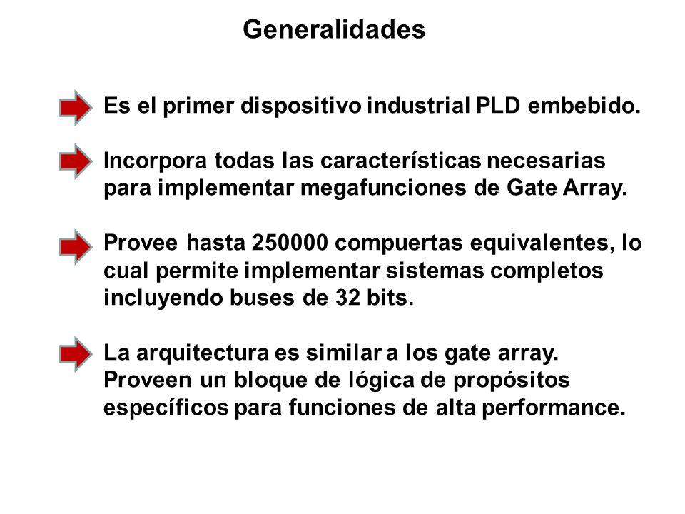 Generalidades Es el primer dispositivo industrial PLD embebido. Incorpora todas las características necesarias para implementar megafunciones de Gate
