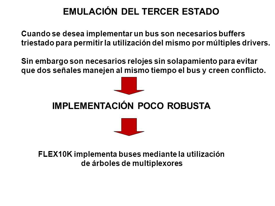EMULACIÓN DEL TERCER ESTADO Cuando se desea implementar un bus son necesarios buffers triestado para permitir la utilización del mismo por múltiples d