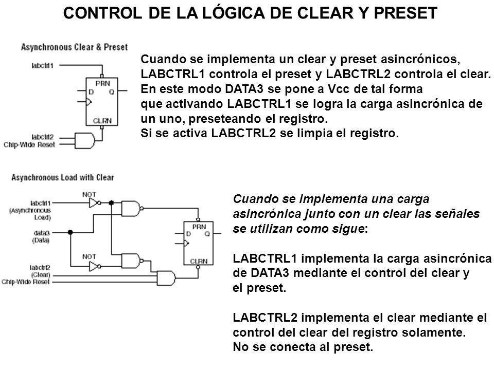 CONTROL DE LA LÓGICA DE CLEAR Y PRESET Se logra mediante la acción de LABCTRL1 que implementa la carga asincrónica de DATA3, controlando el preset y el clear del registro.