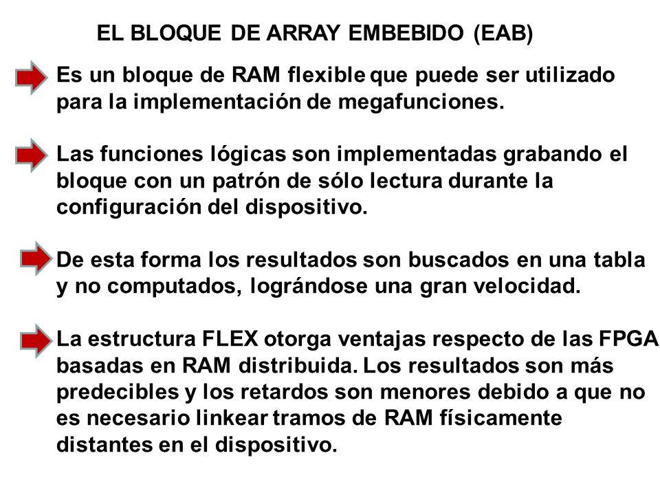 EL BLOQUE DE ARRAY EMBEBIDO (EAB) Es un bloque de RAM flexible que puede ser utilizado para la implementación de megafunciones. Las funciones lógicas