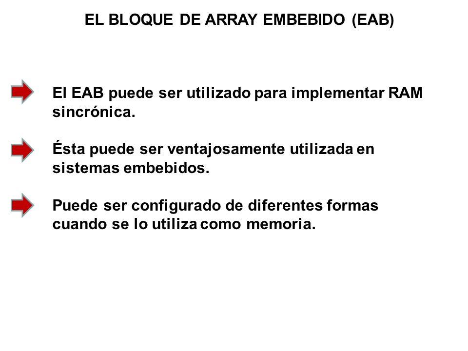 EL BLOQUE DE ARRAY EMBEBIDO (EAB) El EAB puede ser utilizado para implementar RAM sincrónica. Ésta puede ser ventajosamente utilizada en sistemas embe