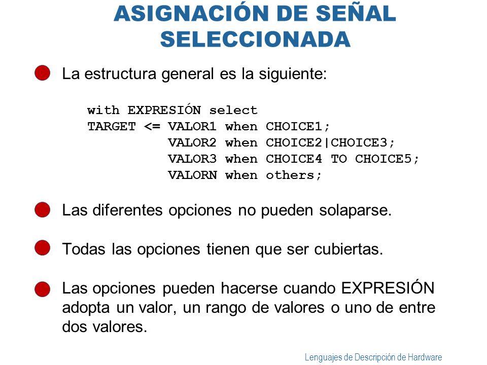 Lenguajes de Descripción de Hardware ASIGNACIÓN DE SEÑAL SELECCIONADA La estructura general es la siguiente: with EXPRESIÓN select TARGET <= VALOR1 wh