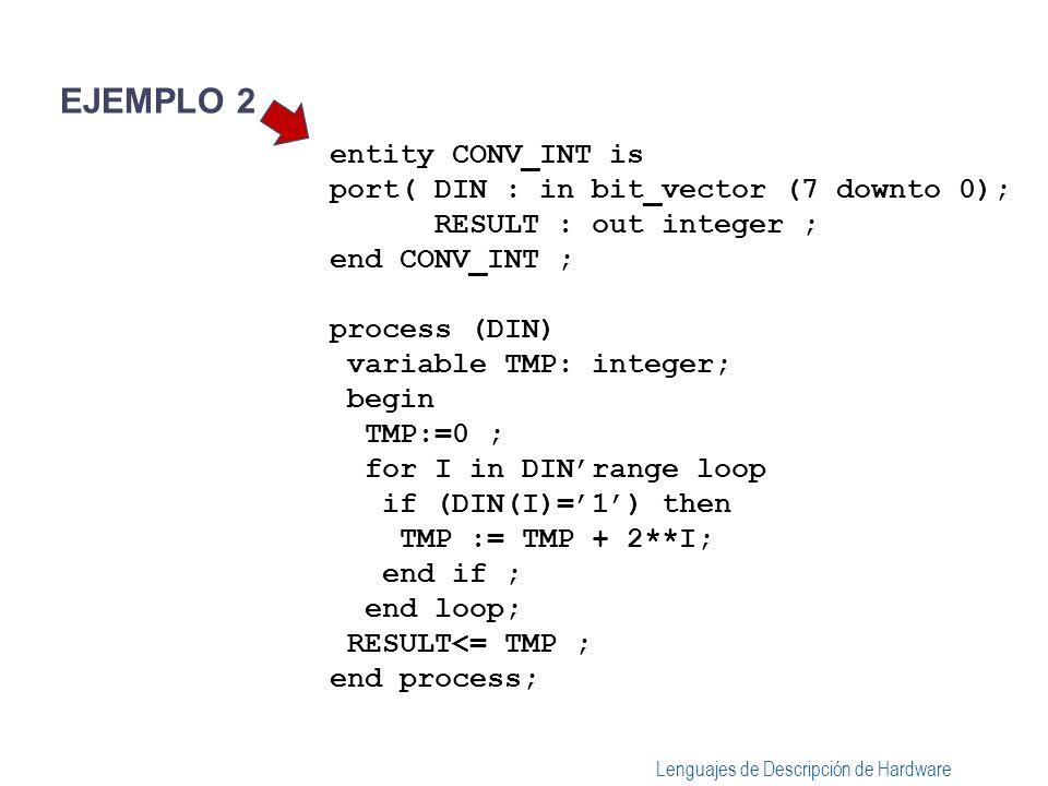 Lenguajes de Descripción de Hardware entity CONV_INT is port( DIN : in bit_vector (7 downto 0); RESULT : out integer ; end CONV_INT ; process (DIN) variable TMP: integer, I : integer; begin TMP:=0 ; I:= DINhigh; while(I>= DINlow) loop if (DIN(I)=1) then TMP := TMP + 2**I; end if ; I=I-1 end loop; RESULT<= TMP ; end process; EJEMPLO 3