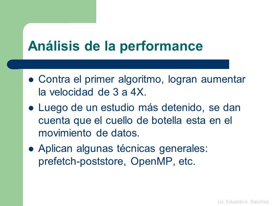 Análisis de la performance Contra el primer algoritmo, logran aumentar la velocidad de 3 a 4X.