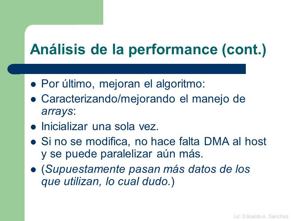 Análisis de la performance (cont.) Por último, mejoran el algoritmo: Caracterizando/mejorando el manejo de arrays: Inicializar una sola vez.