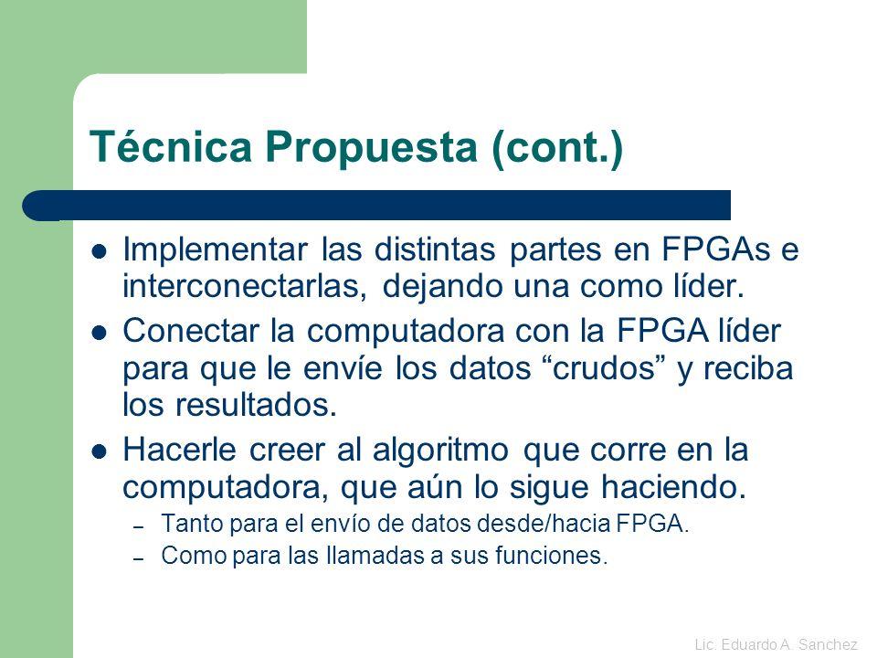 Técnica Propuesta (cont.) Implementar las distintas partes en FPGAs e interconectarlas, dejando una como líder.