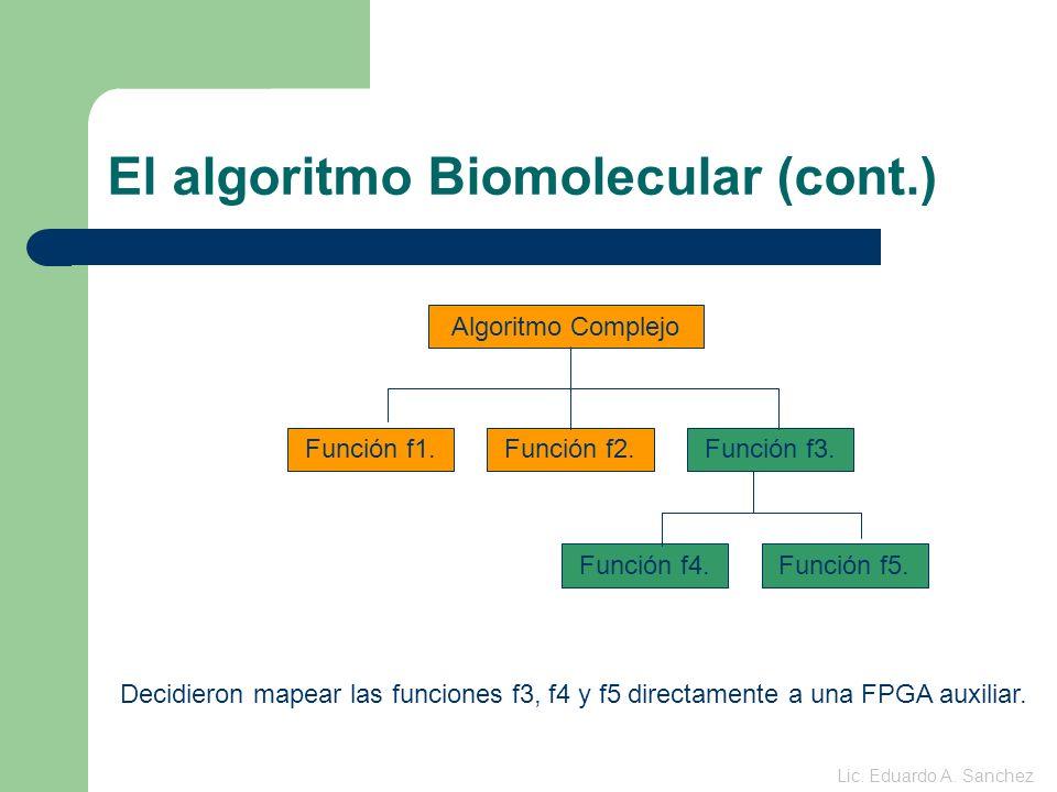 El algoritmo Biomolecular (cont.) Memoria Host CPU Control de las FPGAs FPGA Primaria FPGA Secundaria Memoria Sistema embebido Lic.