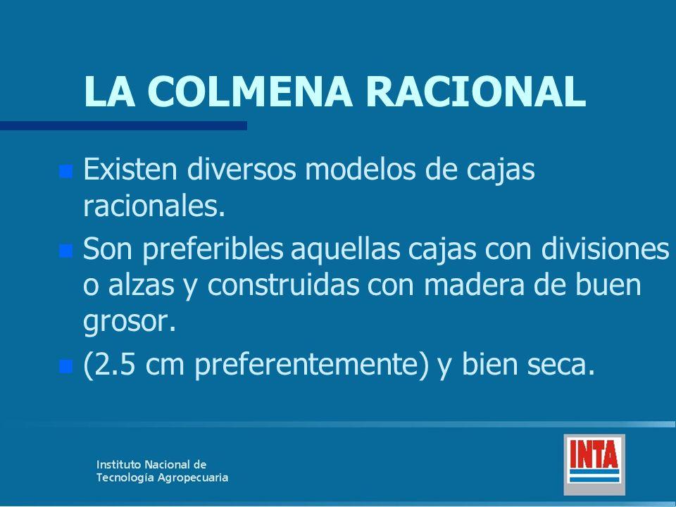 LA COLMENA RACIONAL n n Existen diversos modelos de cajas racionales. n n Son preferibles aquellas cajas con divisiones o alzas y construidas con made