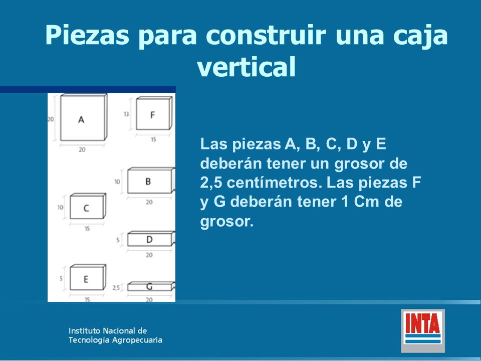 Piezas para construir una caja vertical Las piezas A, B, C, D y E deberán tener un grosor de 2,5 centímetros. Las piezas F y G deberán tener 1 Cm de g