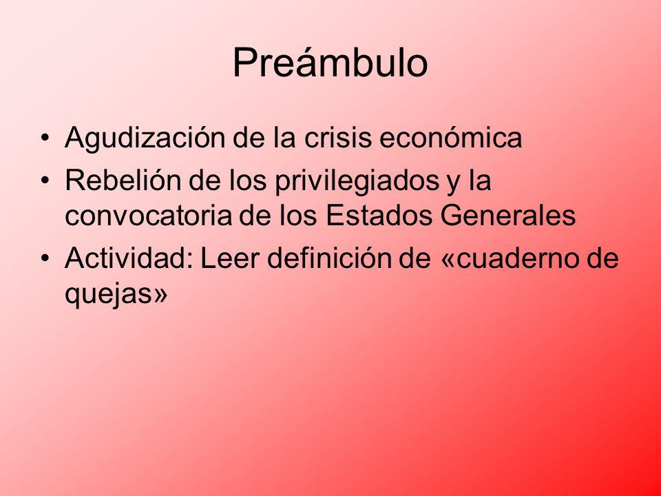 Preámbulo Agudización de la crisis económica Rebelión de los privilegiados y la convocatoria de los Estados Generales Actividad: Leer definición de «c