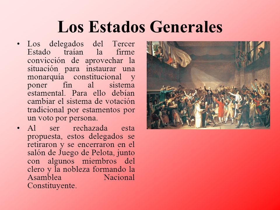Los Estados Generales Los delegados del Tercer Estado traían la firme convicción de aprovechar la situación para instaurar una monarquía constituciona