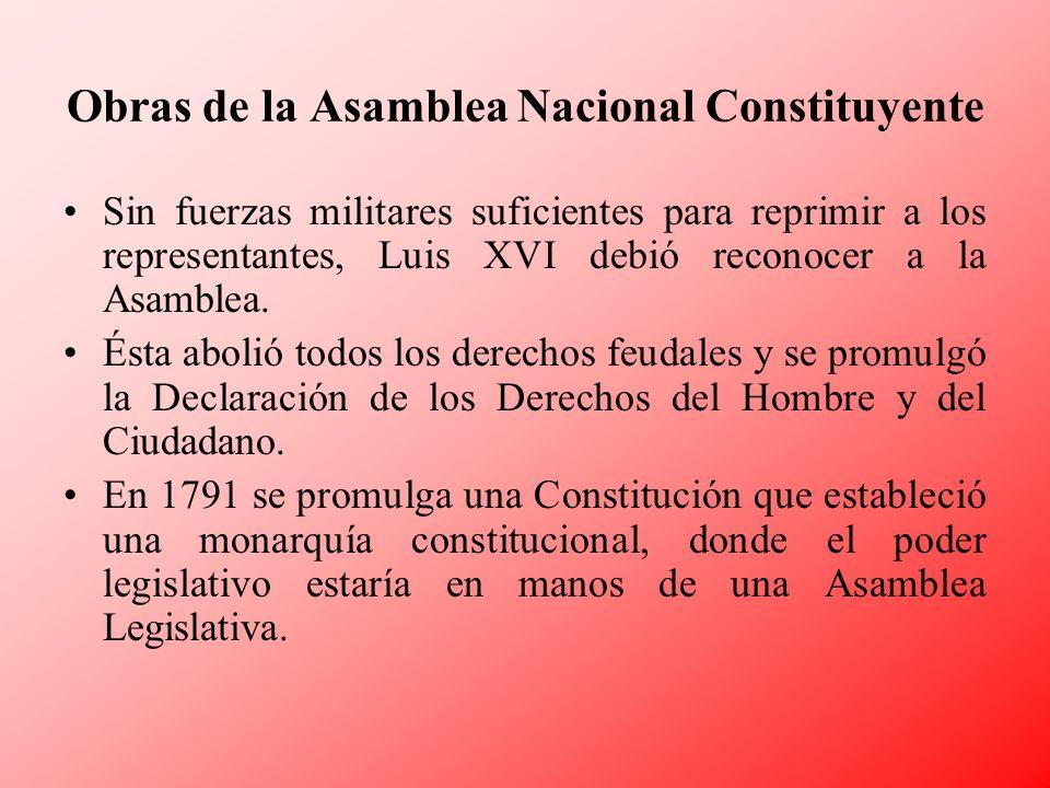 Obras de la Asamblea Nacional Constituyente Sin fuerzas militares suficientes para reprimir a los representantes, Luis XVI debió reconocer a la Asambl