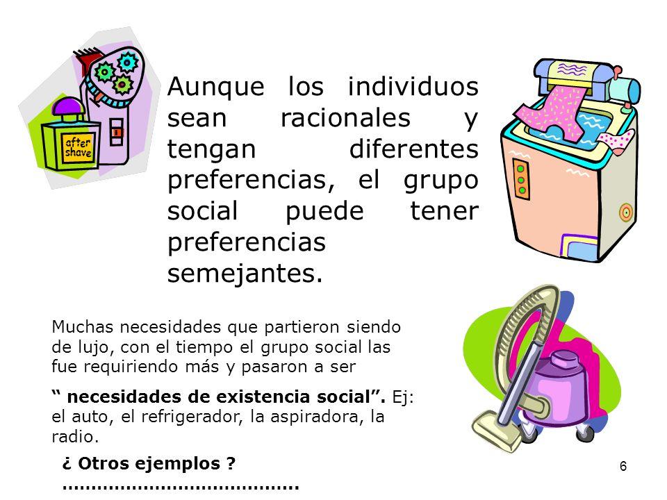 6 Aunque los individuos sean racionales y tengan diferentes preferencias, el grupo social puede tener preferencias semejantes.