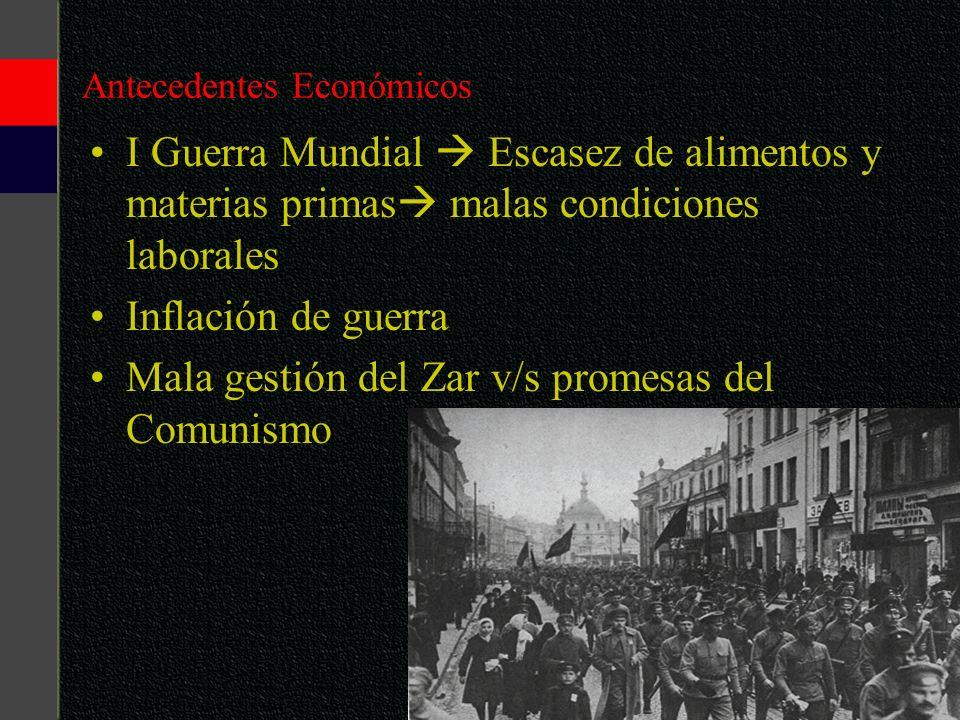 Antecedentes Económicos I Guerra Mundial Escasez de alimentos y materias primas malas condiciones laborales Inflación de guerra Mala gestión del Zar v