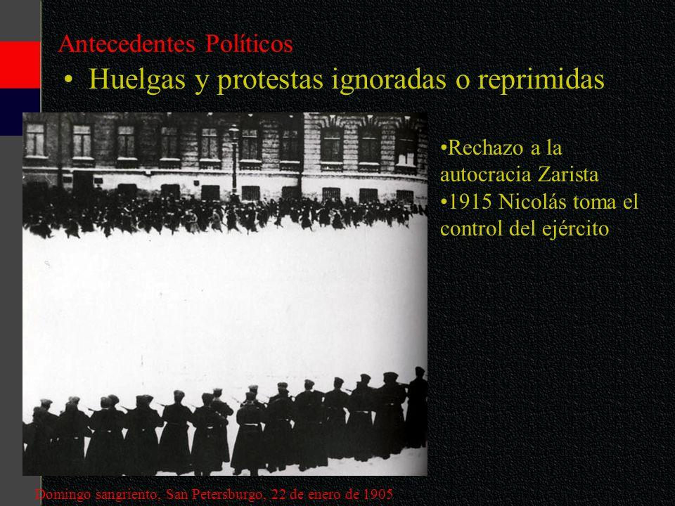 Antecedentes Políticos Huelgas y protestas ignoradas o reprimidas Domingo sangriento, San Petersburgo, 22 de enero de 1905 Rechazo a la autocracia Zar