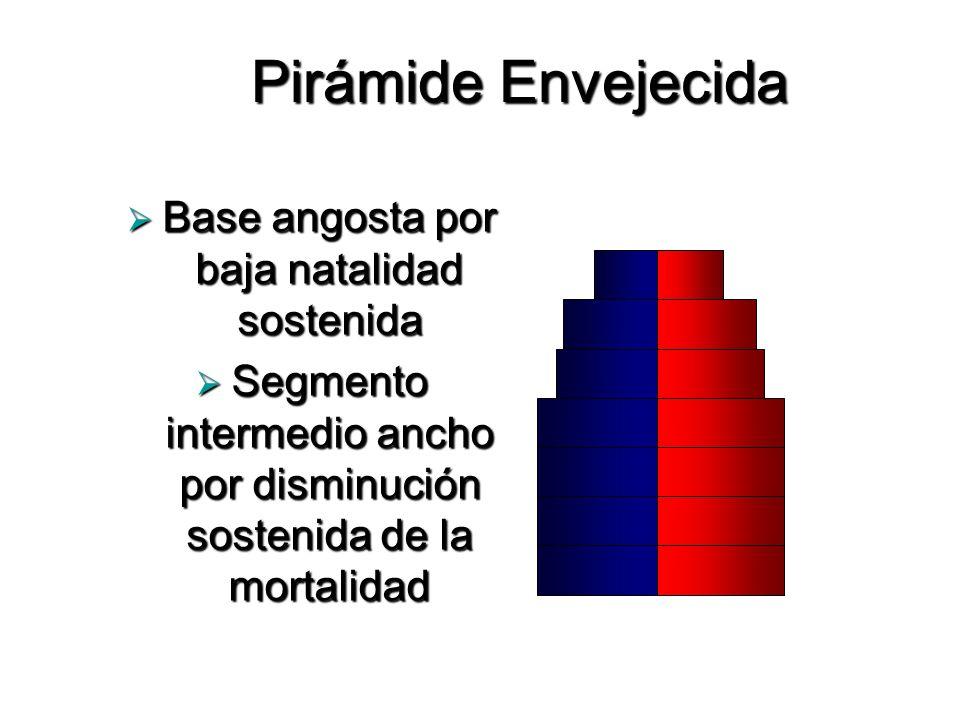 Pirámide Envejecida Base angosta por baja natalidad sostenida Base angosta por baja natalidad sostenida Segmento intermedio ancho por disminución sost