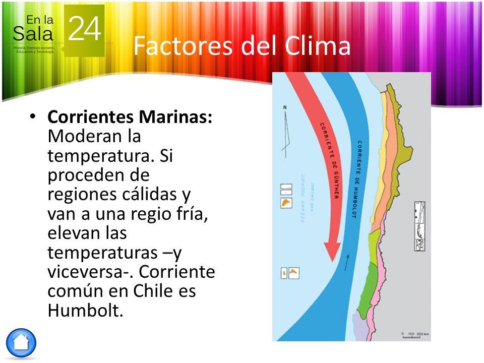 Factores del Clima Corrientes Marinas: Moderan la temperatura. Si proceden de regiones cálidas y van a una regio fría, elevan las temperaturas –y vice