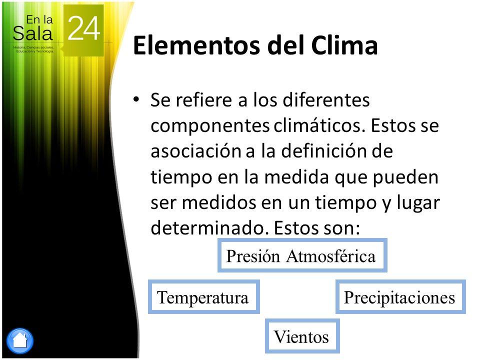 Elementos del Clima Se refiere a los diferentes componentes climáticos. Estos se asociación a la definición de tiempo en la medida que pueden ser medi