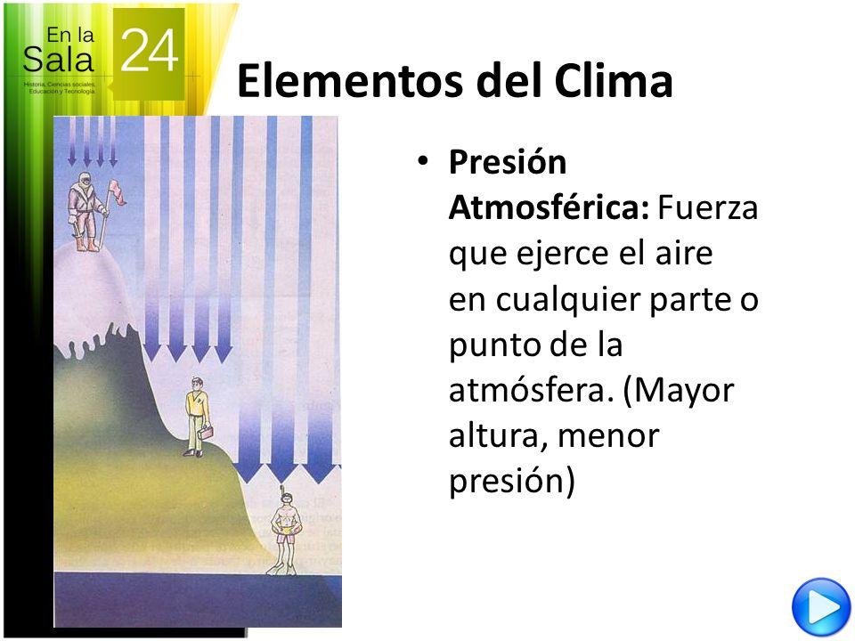 Elementos del Clima Presión Atmosférica: Fuerza que ejerce el aire en cualquier parte o punto de la atmósfera. (Mayor altura, menor presión)