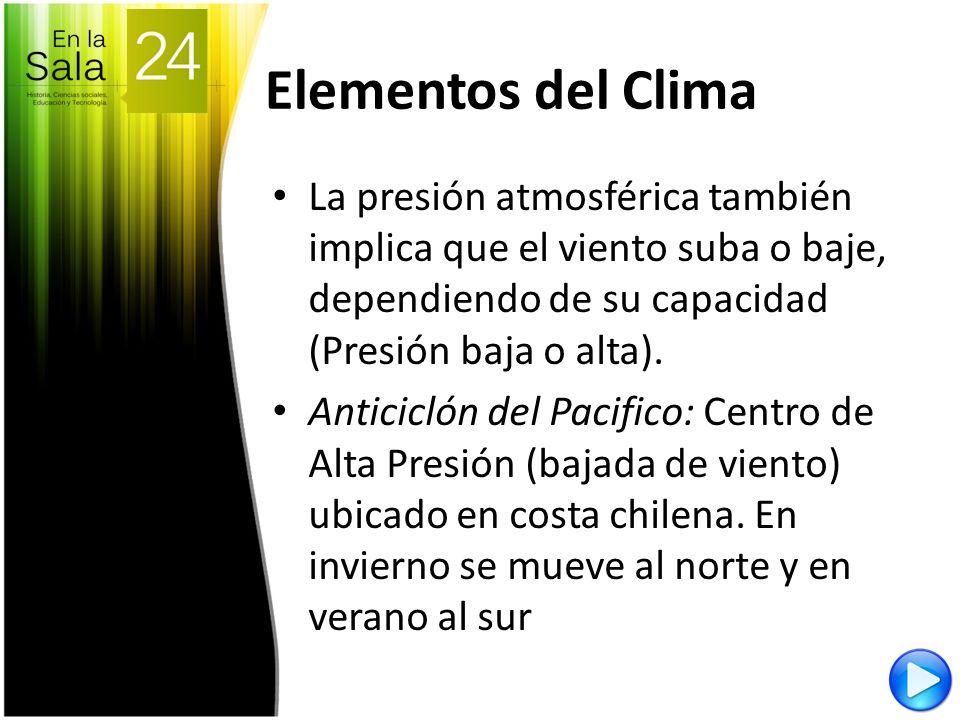 Elementos del Clima La presión atmosférica también implica que el viento suba o baje, dependiendo de su capacidad (Presión baja o alta). Anticiclón de