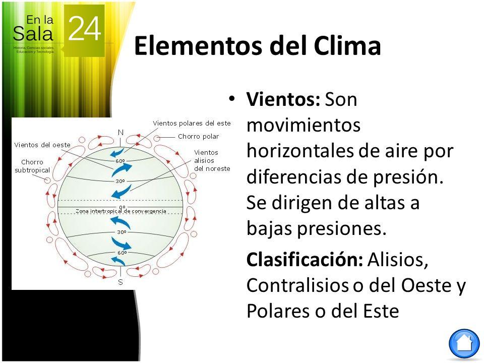 Elementos del Clima Vientos: Son movimientos horizontales de aire por diferencias de presión. Se dirigen de altas a bajas presiones. Clasificación: Al