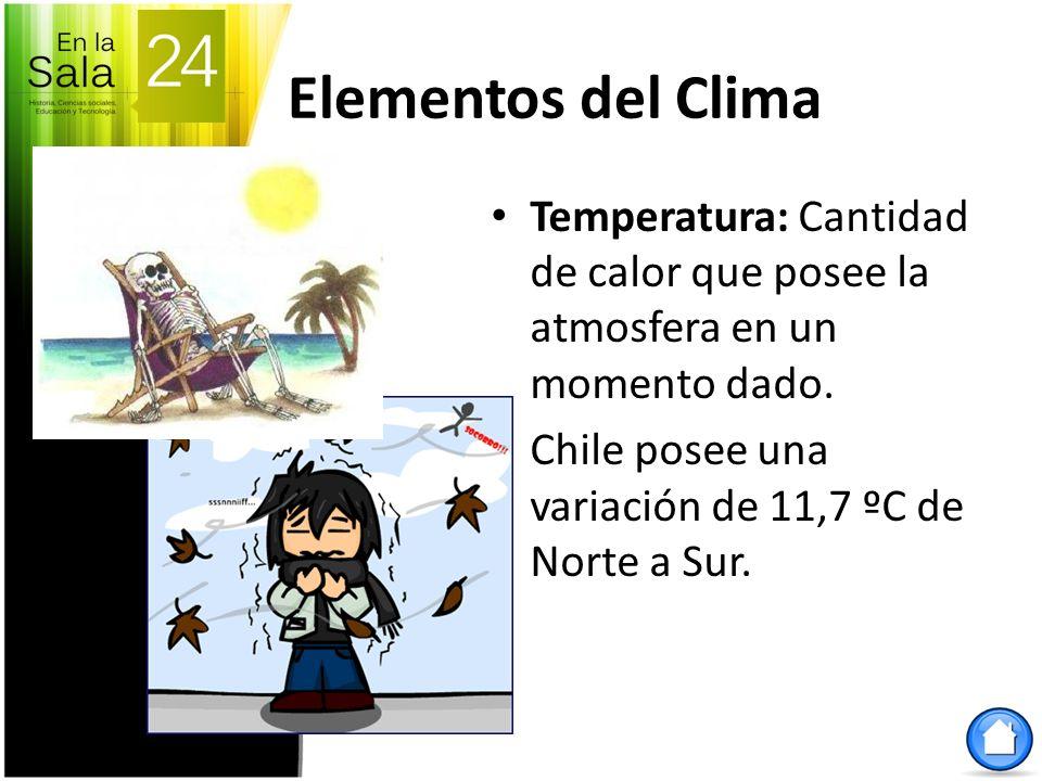 Elementos del Clima Temperatura: Cantidad de calor que posee la atmosfera en un momento dado. Chile posee una variación de 11,7 ºC de Norte a Sur.