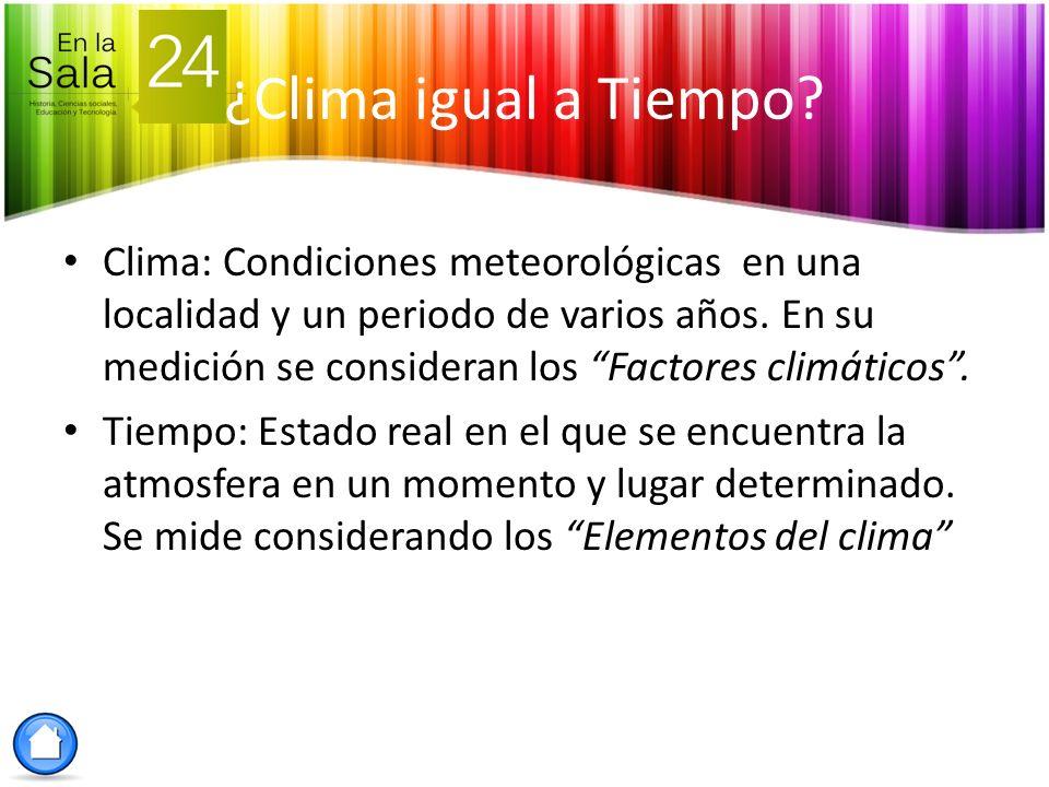 Clima: Condiciones meteorológicas en una localidad y un periodo de varios años. En su medición se consideran los Factores climáticos. Tiempo: Estado r