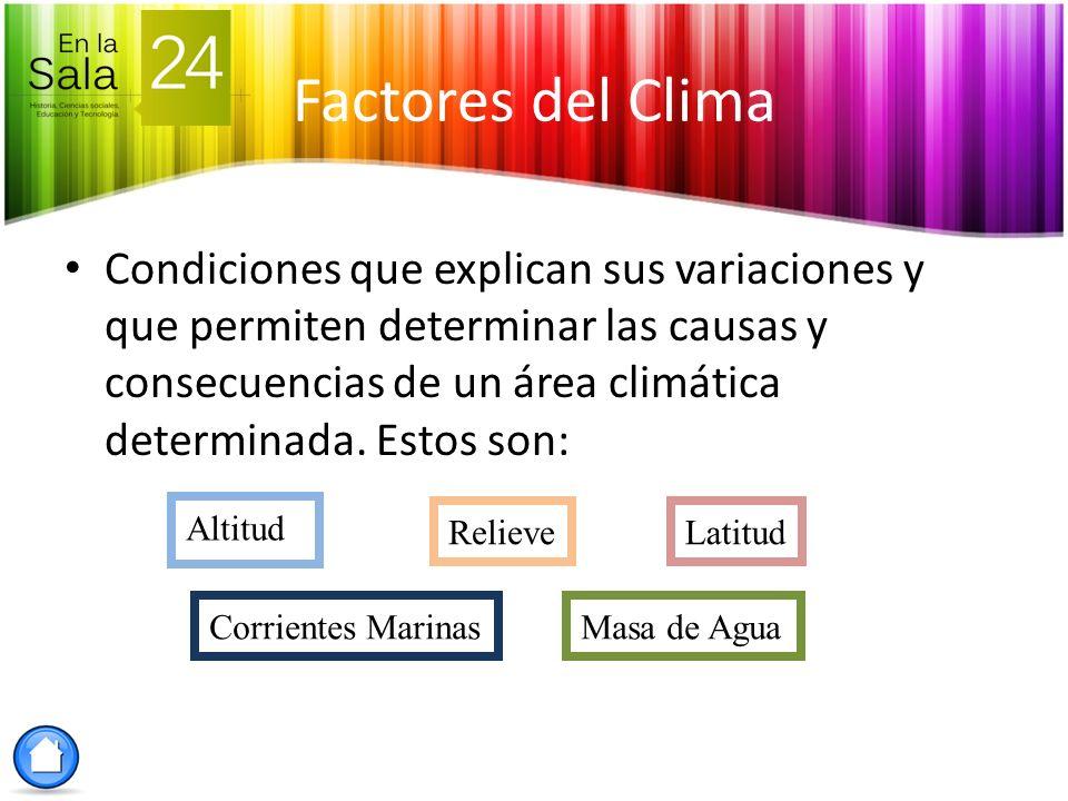 Factores del Clima Condiciones que explican sus variaciones y que permiten determinar las causas y consecuencias de un área climática determinada. Est