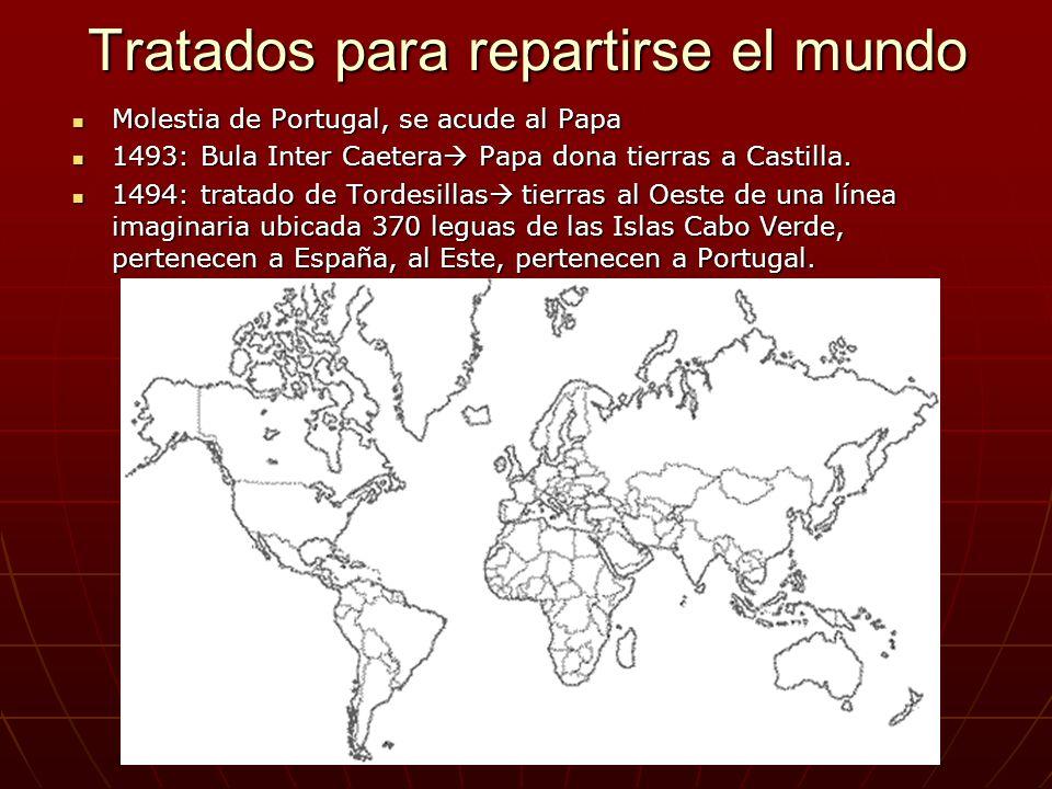 Tratados para repartirse el mundo Molestia de Portugal, se acude al Papa Molestia de Portugal, se acude al Papa 1493: Bula Inter Caetera Papa dona tierras a Castilla.