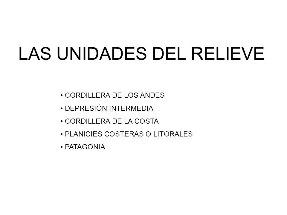 LAS UNIDADES DEL RELIEVE CORDILLERA DE LOS ANDES DEPRESIÓN INTERMEDIA CORDILLERA DE LA COSTA PLANICIES COSTERAS O LITORALES PATAGONIA