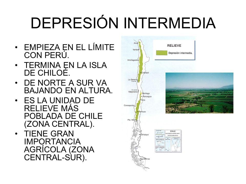 DEPRESIÓN INTERMEDIA EMPIEZA EN EL LÍMITE CON PERÚ. TERMINA EN LA ISLA DE CHILOÉ. DE NORTE A SUR VA BAJANDO EN ALTURA. ES LA UNIDAD DE RELIEVE MÁS POB