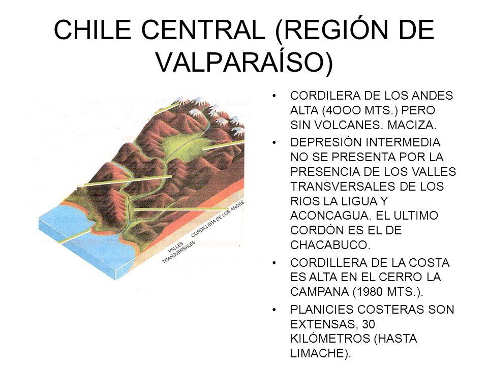 CHILE CENTRAL (REGIÓN DE VALPARAÍSO) CORDILERA DE LOS ANDES ALTA (4OOO MTS.) PERO SIN VOLCANES. MACIZA. DEPRESIÓN INTERMEDIA NO SE PRESENTA POR LA PRE