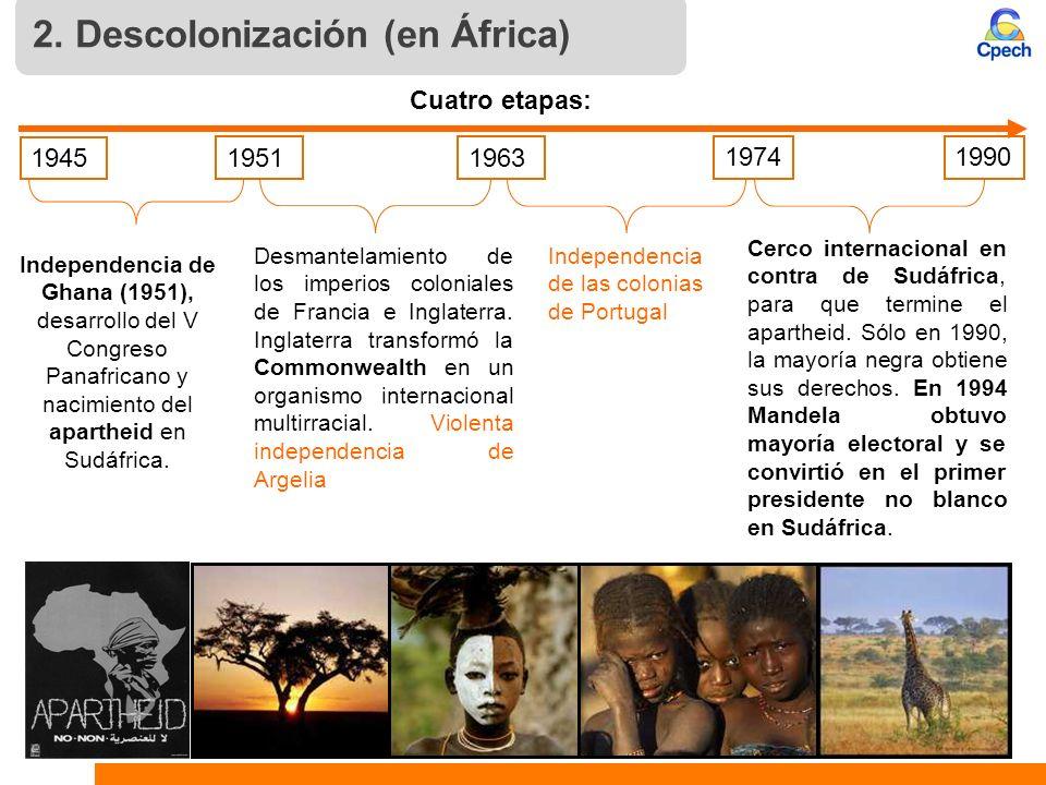 Cerco internacional en contra de Sudáfrica, para que termine el apartheid. Sólo en 1990, la mayoría negra obtiene sus derechos. En 1994 Mandela obtuvo