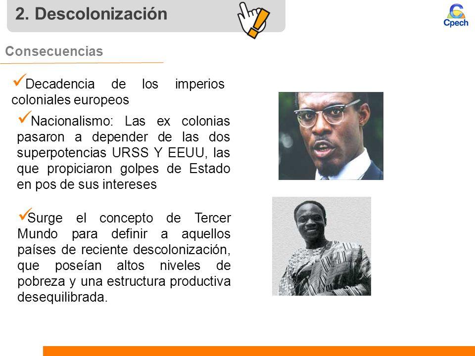 2. Descolonización Consecuencias Decadencia de los imperios coloniales europeos Surge el concepto de Tercer Mundo para definir a aquellos países de re