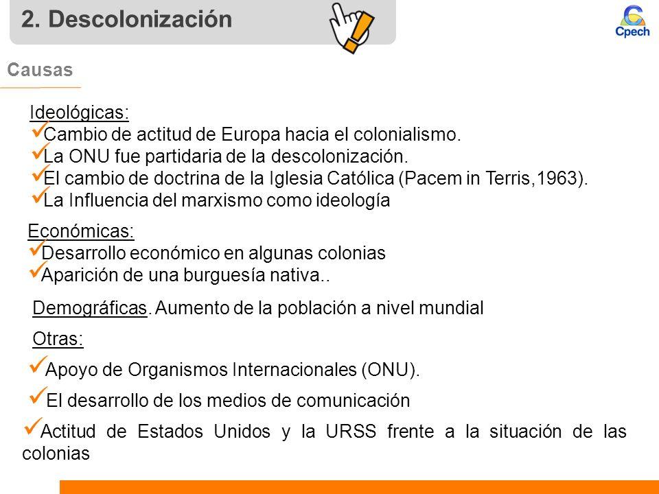 2. Descolonización Causas Ideológicas: Cambio de actitud de Europa hacia el colonialismo. La ONU fue partidaria de la descolonización. El cambio de do