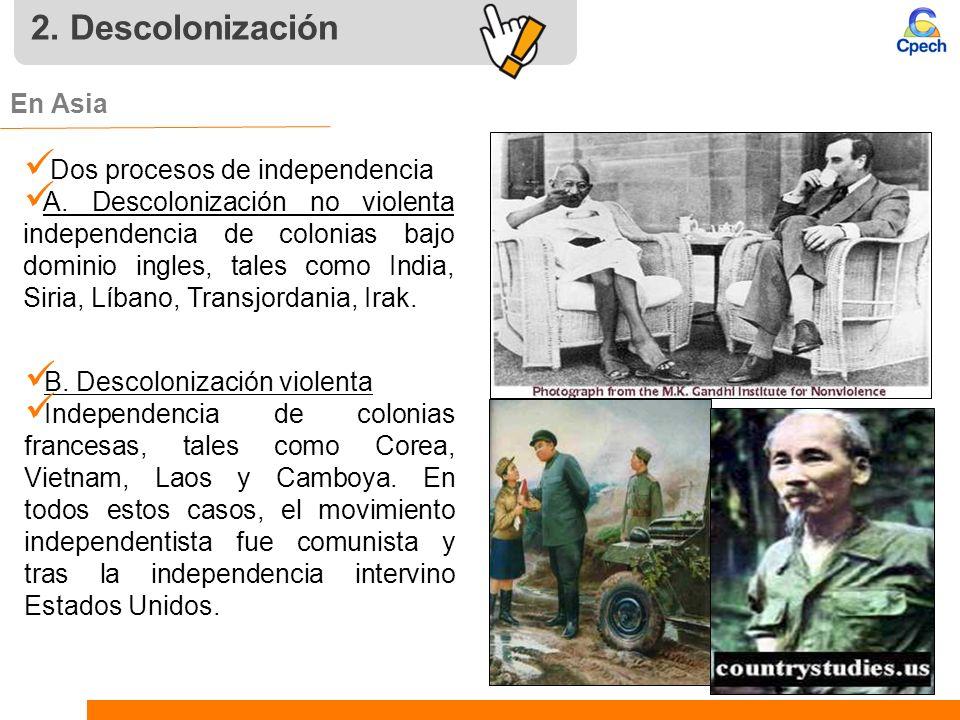 2. Descolonización En Asia Dos procesos de independencia A. Descolonización no violenta independencia de colonias bajo dominio ingles, tales como Indi