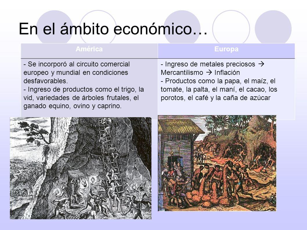 En el ámbito social… AméricaEuropa -Disminución de la población indígena (enfrentamientos, enfermedades y crueles tratos).