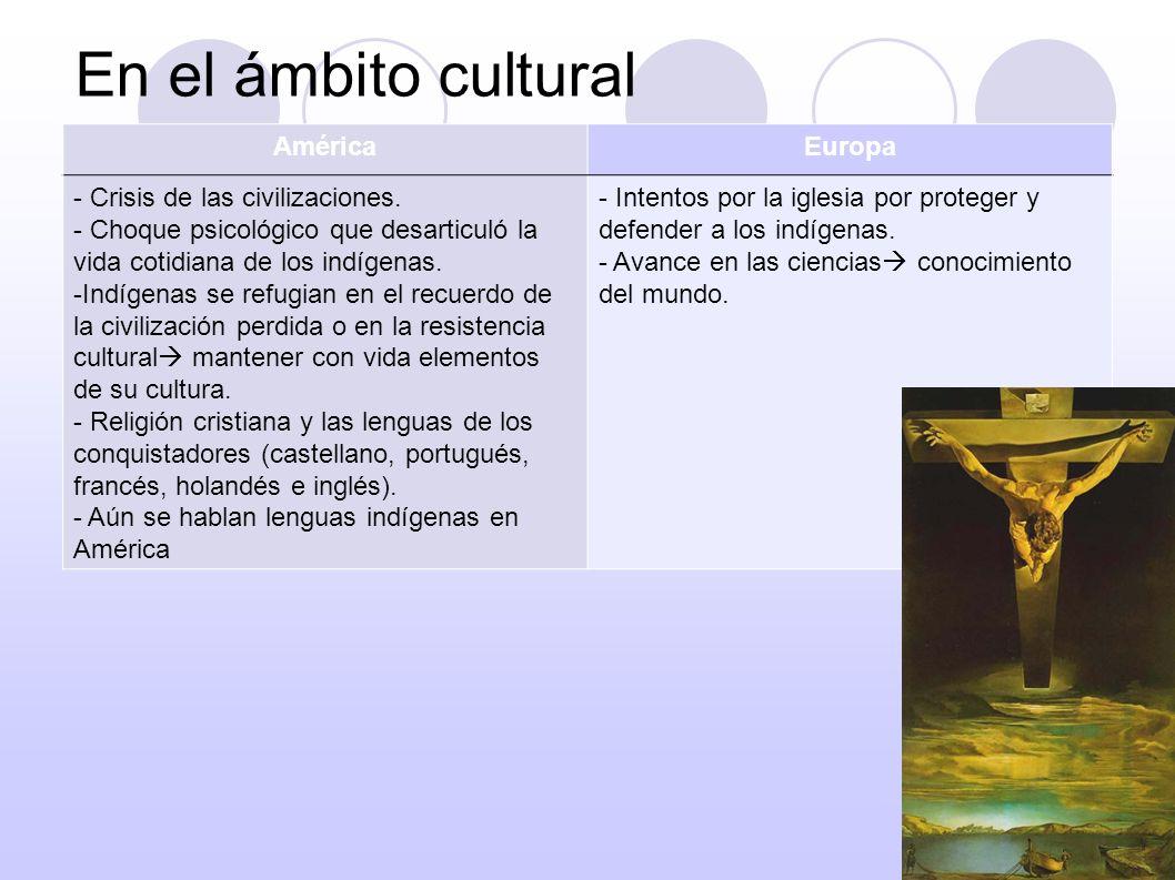 En el ámbito cultural AméricaEuropa - Crisis de las civilizaciones. - Choque psicológico que desarticuló la vida cotidiana de los indígenas. -Indígena