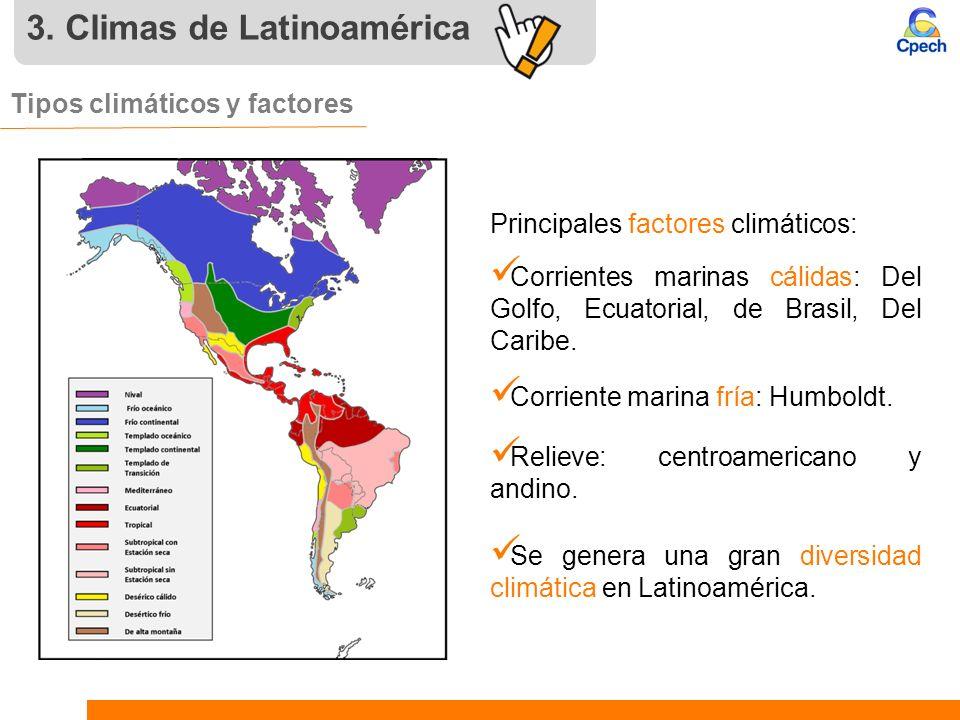 3. Climas de Latinoamérica Tipos climáticos y factores Corrientes marinas cálidas: Del Golfo, Ecuatorial, de Brasil, Del Caribe. Corriente marina fría