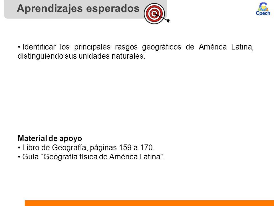 Aprendizajes esperados Identificar los principales rasgos geográficos de América Latina, distinguiendo sus unidades naturales. Material de apoyo Libro