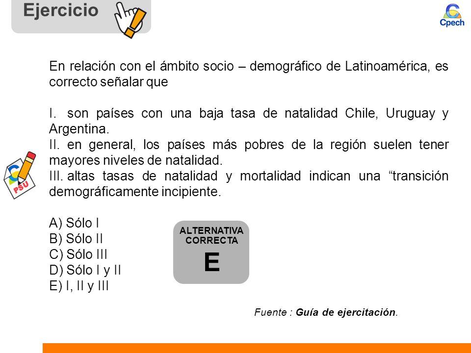 Ejercicio En relación con el ámbito socio – demográfico de Latinoamérica, es correcto señalar que I. son países con una baja tasa de natalidad Chile,