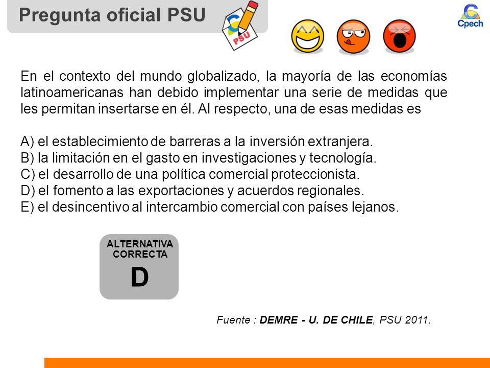 Pregunta oficial PSU En el contexto del mundo globalizado, la mayoría de las economías latinoamericanas han debido implementar una serie de medidas qu