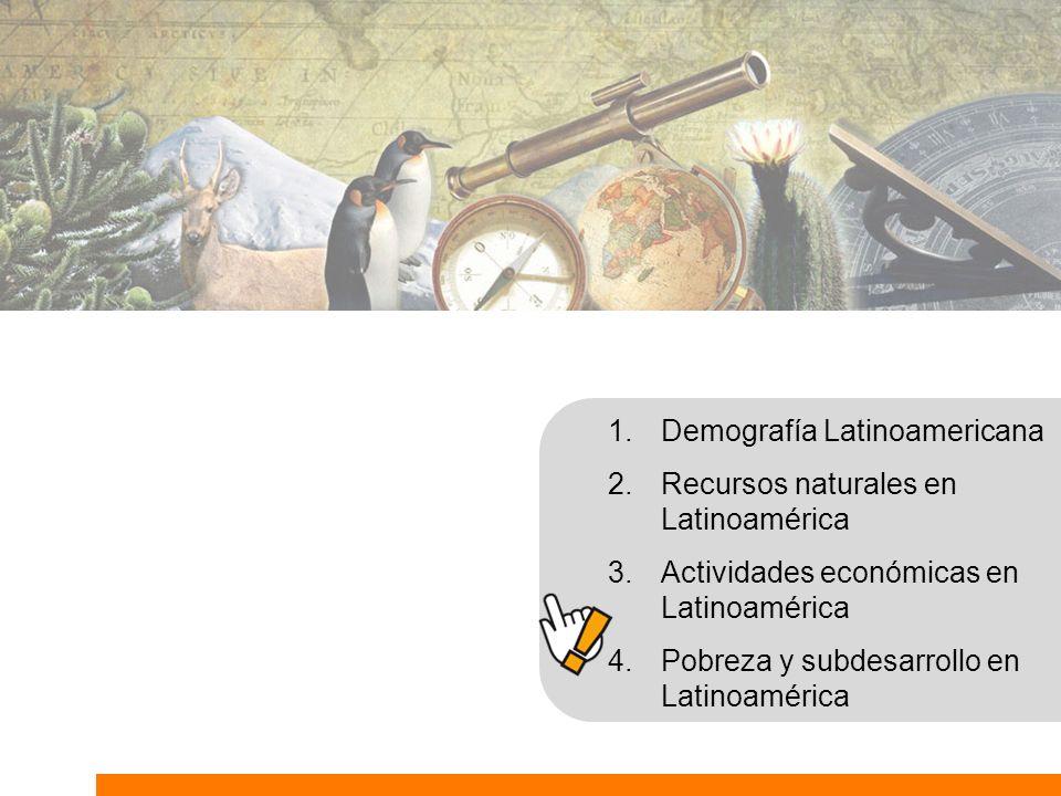 1.Demografía Latinoamericana 2.Recursos naturales en Latinoamérica 3.Actividades económicas en Latinoamérica 4.Pobreza y subdesarrollo en Latinoaméric