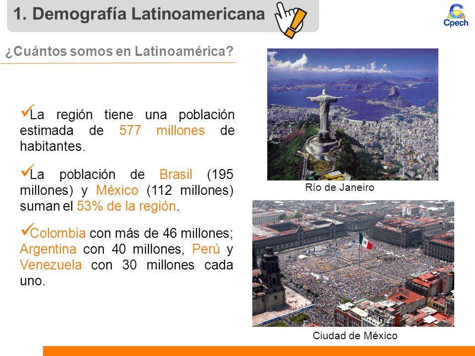 1. Demografía Latinoamericana ¿Cuántos somos en Latinoamérica? La región tiene una población estimada de 577 millones de habitantes. La población de B