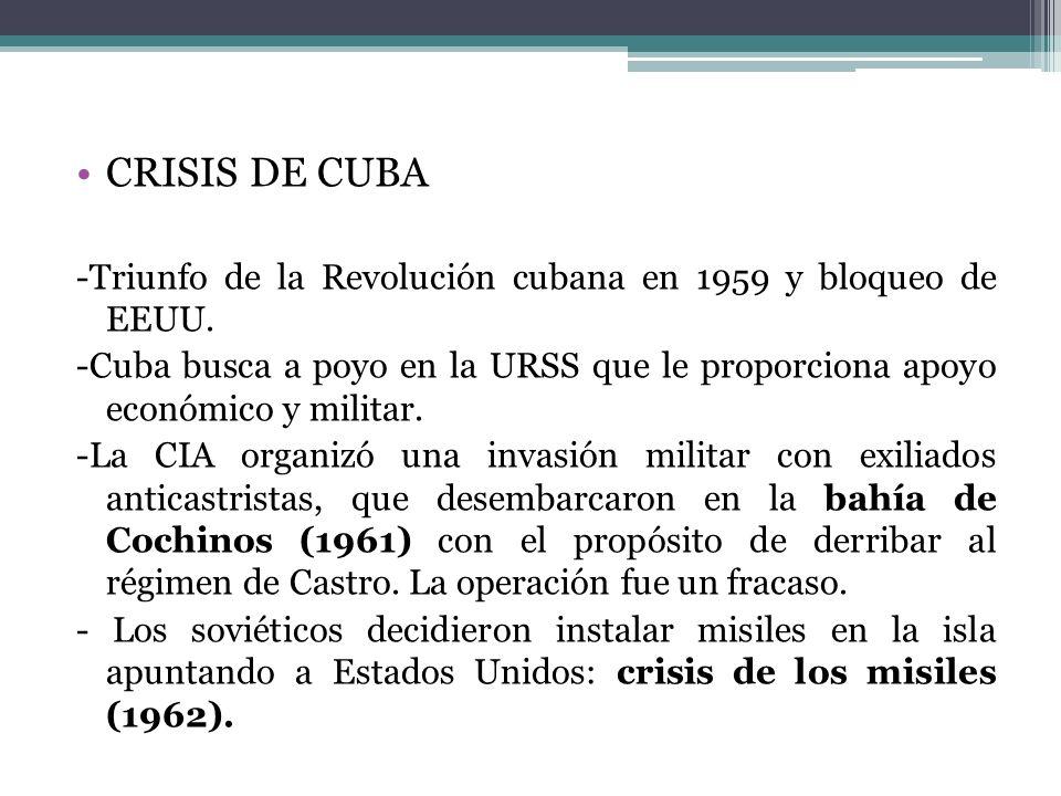 CRISIS DE CUBA -Triunfo de la Revolución cubana en 1959 y bloqueo de EEUU. -Cuba busca a poyo en la URSS que le proporciona apoyo económico y militar.