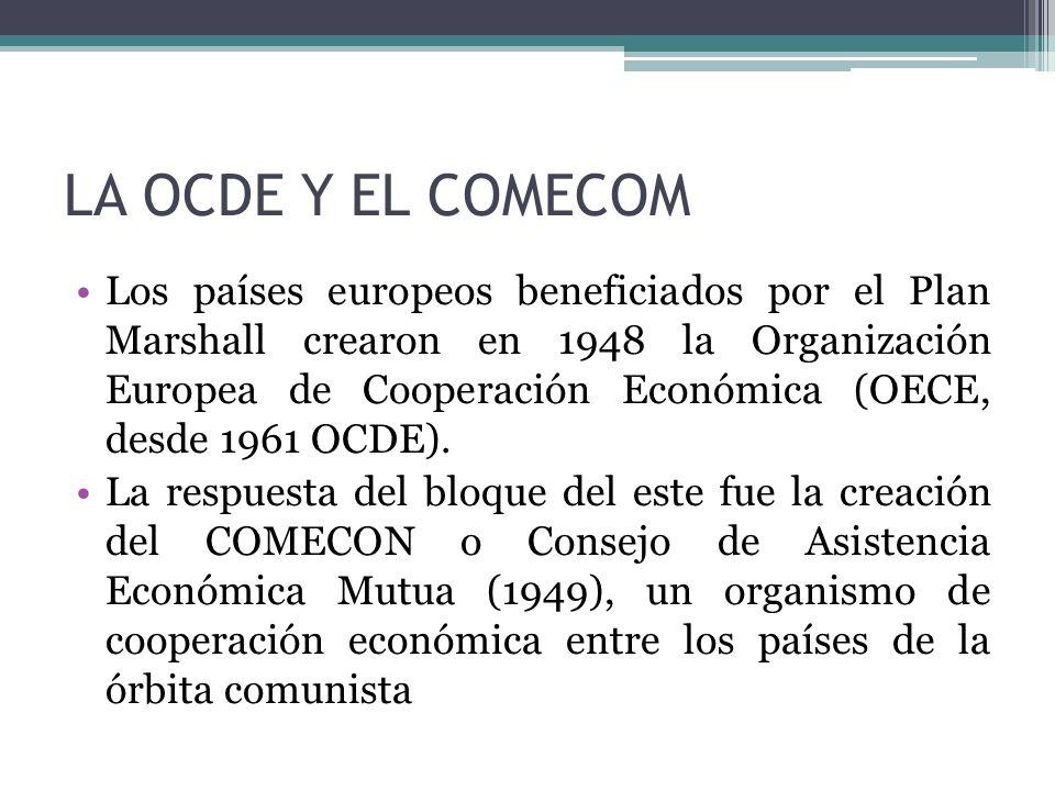 LA OCDE Y EL COMECOM Los países europeos beneficiados por el Plan Marshall crearon en 1948 la Organización Europea de Cooperación Económica (OECE, des