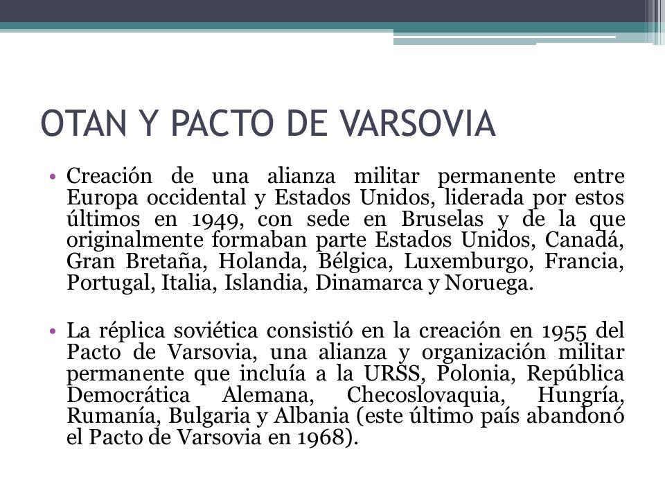 OTAN Y PACTO DE VARSOVIA Creación de una alianza militar permanente entre Europa occidental y Estados Unidos, liderada por estos últimos en 1949, con