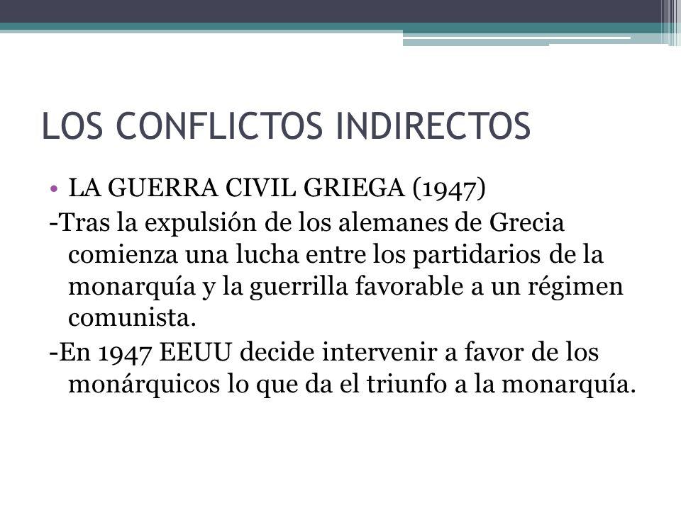 LOS CONFLICTOS INDIRECTOS LA GUERRA CIVIL GRIEGA (1947) -Tras la expulsión de los alemanes de Grecia comienza una lucha entre los partidarios de la mo