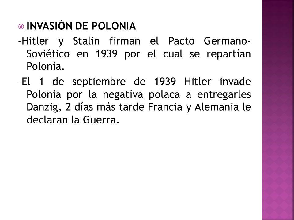 INVASIÓN DE POLONIA -Hitler y Stalin firman el Pacto Germano- Soviético en 1939 por el cual se repartían Polonia. -El 1 de septiembre de 1939 Hitler i